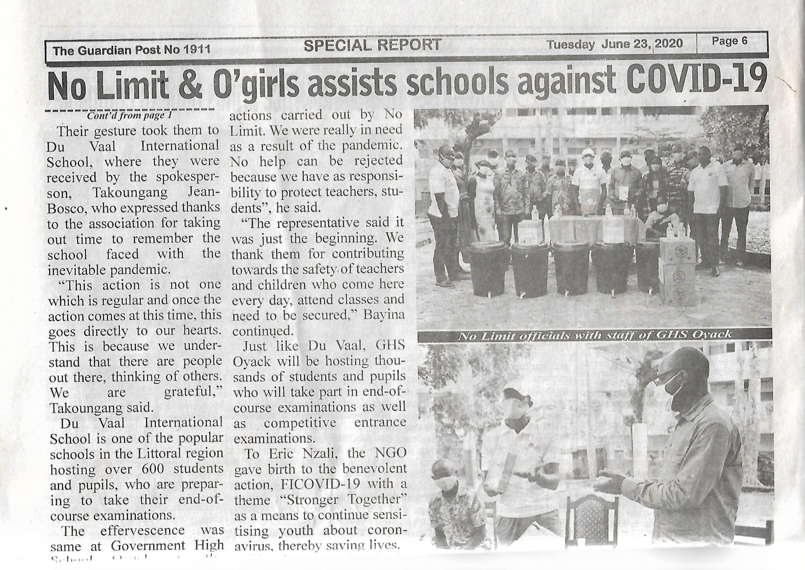 The Guardian Post Newspaper : No Limit & O'Girls assists Schools against COVID-19