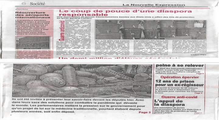 FICOVID actions reported in La Nouvelle Expression